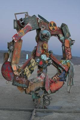 Messaging by Mac Maker, made of recycled found objects
