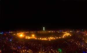 Aerial like view of impressive Fire Conclave Dancers just before the Burn.