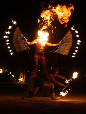Two performers during the pre-Burn Fire Conclave show.