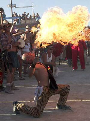 At this annual ritual, the fire that eventually lights the man is created.