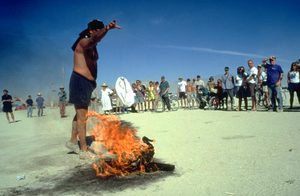 On Sunday,in a farewell to the playa ritual, participants were asked to throw their underwear to the burning duck.